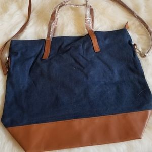 Old Navy Blue Canvas Tote Faux Leather New